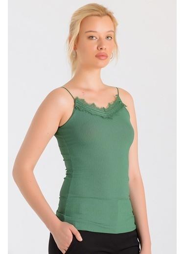 Jument Frida Kaşkorse İp Askılı Dantelli Body Yeşil